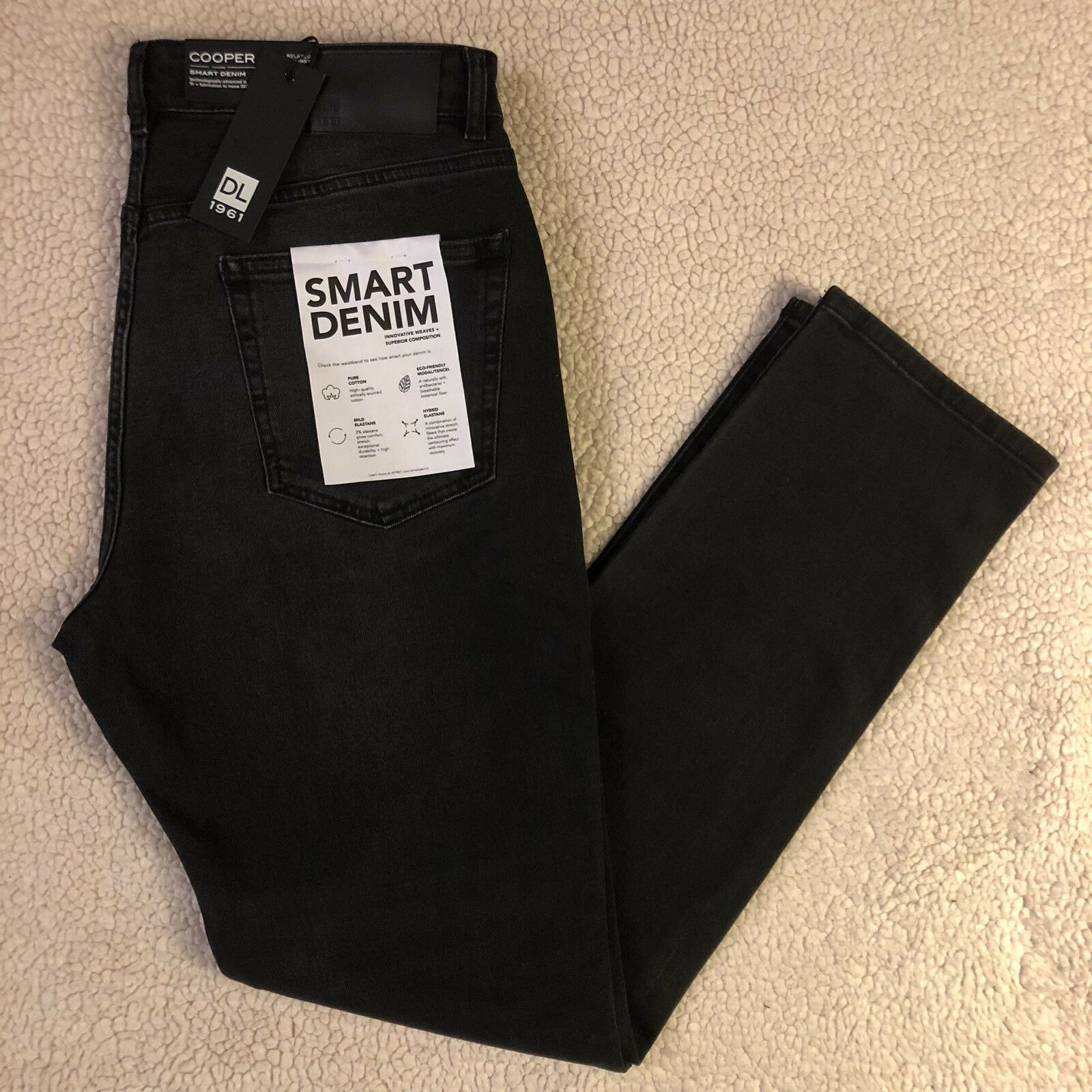 "NEW DL1961 Premium Men's ""Smart Denim"" Jeans Cooper Relaxed Skinny, Abyss,"