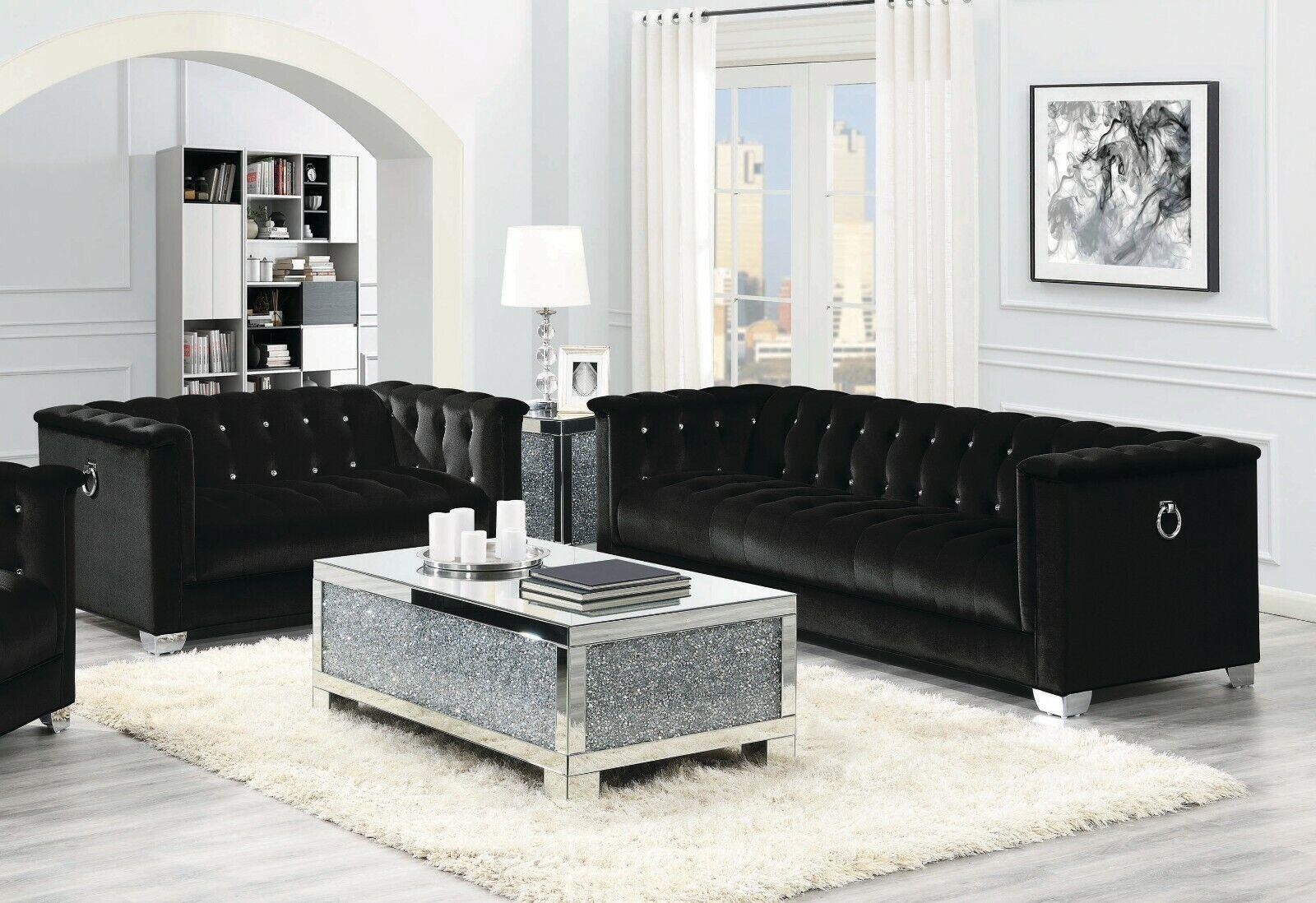 Contemporary Black Velvet Rhinestone Sofa Love Seat Living Room Furniture Set
