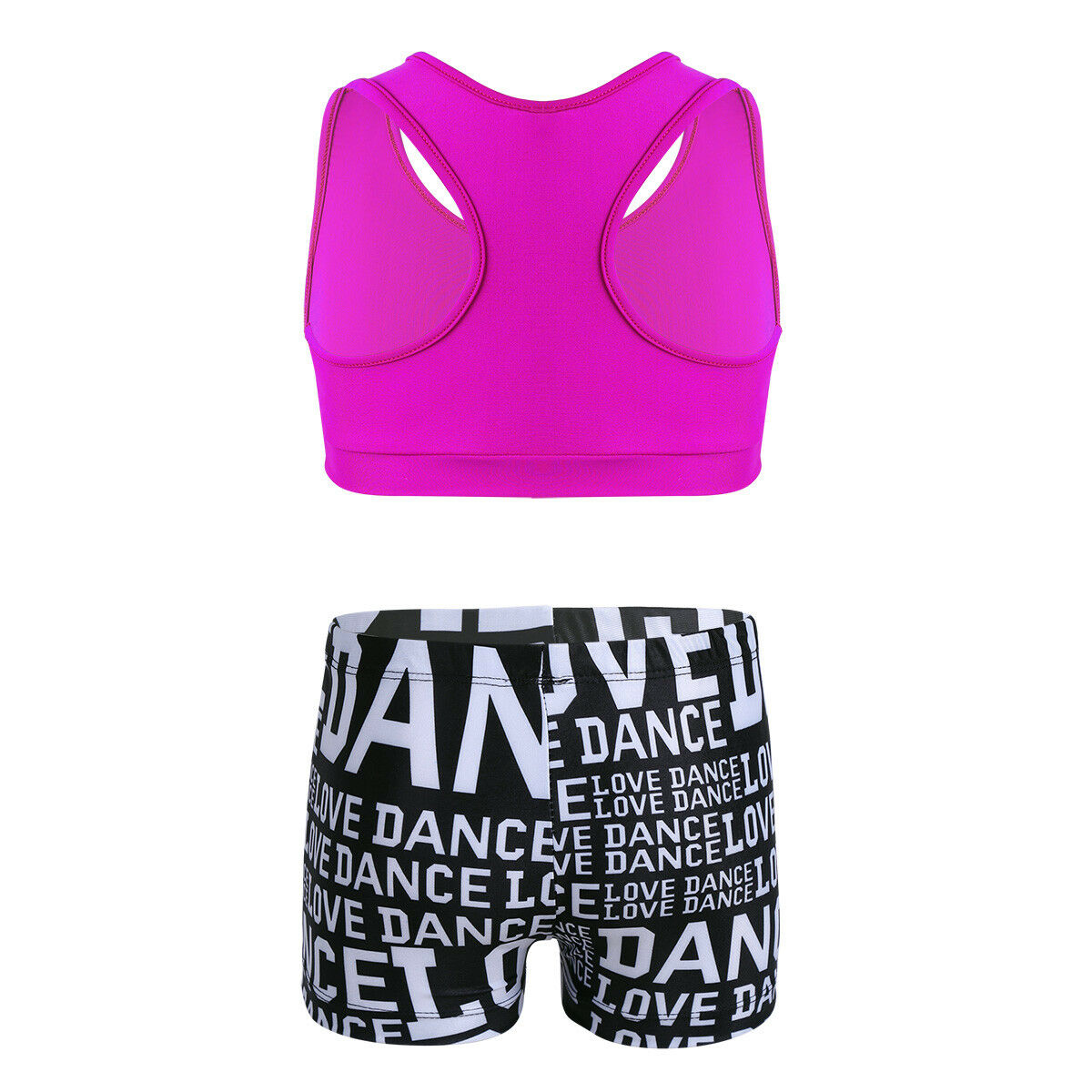 Kids Girls Athletic Outfits Crop Tops+Shorts Set Ballet Gymnastic Workout Wear