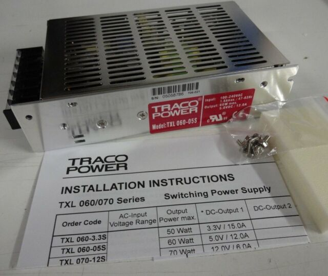 BLOC D'ALIMENTATION Traco Power TXL 060-05S AC/DC Enclosed Power Supply