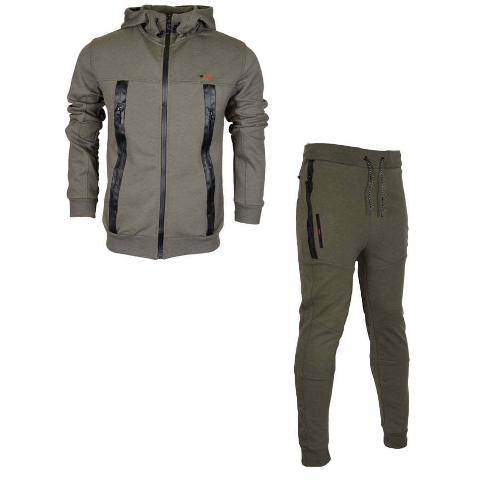 Born Rich Smalling rotknapp Hooded Zip Up Khaki Tracksuit