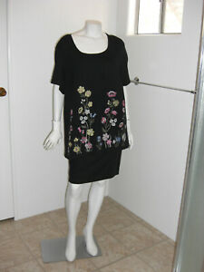 KAREN-SCOTT-Woman-Embroidered-Flowers-Short-Sleeves-Stretch-Knit-Top-Size-3X
