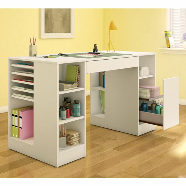 White Craft Table Storage Organizer Sewing Station Shelves Art Counter Desk Work For Sale Online Ebay
