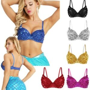 5349c49a40 Women s Sparkle Shiny Bra Padded Push Up Bralette Crop Tops Sequins ...