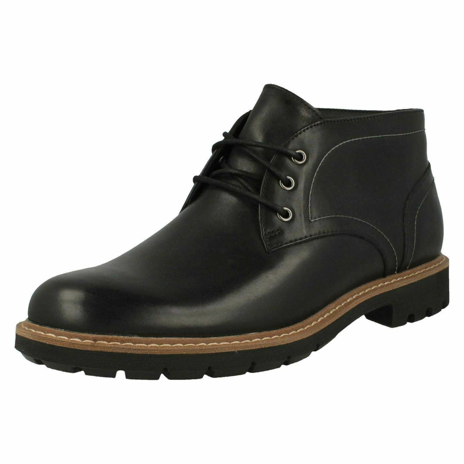 Mens Clarks Batcombe Lo Leather Smart Lace Up Boots Black UK 8.