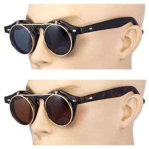 2-Pair-Cool-Flip-Up-Lens-Steampunk-Vintage-Retro-Round-Sunglasses-Gold-Tortoise
