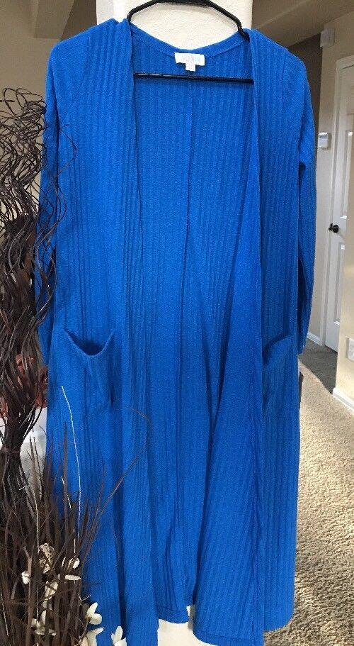 NWT Lularoe Royal bluee Ribbed Sarah XS Layering Cardigan Duster