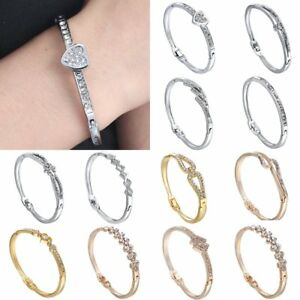 Fashion-Silver-Gold-Women-Silver-Crystal-Bracelet-Charm-Love-Cuff-Bangle-Jewelry