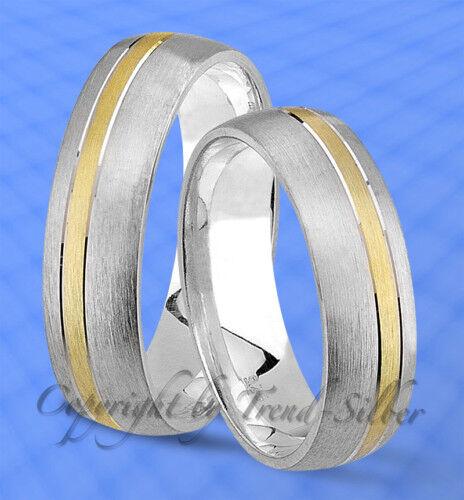 2 Silber Trauringe Eheringe Partnerringe J110 925 Silber FEINGOLD PLATIERT