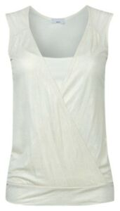 Womens-INTERNACIONALE-White-Gold-Mock-Vest-Wrap-Shimmer-Top-UK-Size-10-12-14-16