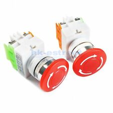 2x Red Mushroom Emergency Stop Switch 600v 1nc 10a Contacts E Stop Twist Release