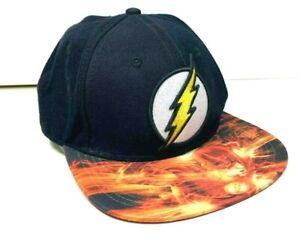 DC Comics The Flash Mens Adjustable Black Orange Snapback Hat Lightning Bolt