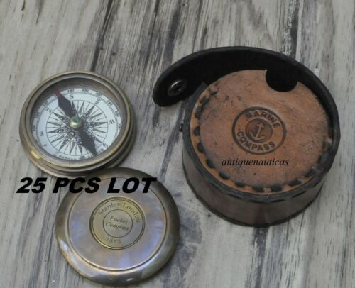 Maritime Nautical Brass Poem Compass With Leather Box Lot of 25 Compass
