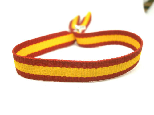"Oct. ajustable Pulsera artesanal /"" Bandera España/"" en tela 10mm"
