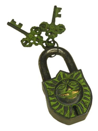 Lord Sun Engraved Lock Antique Vintage Style Handmade Brass Padlock with Keys