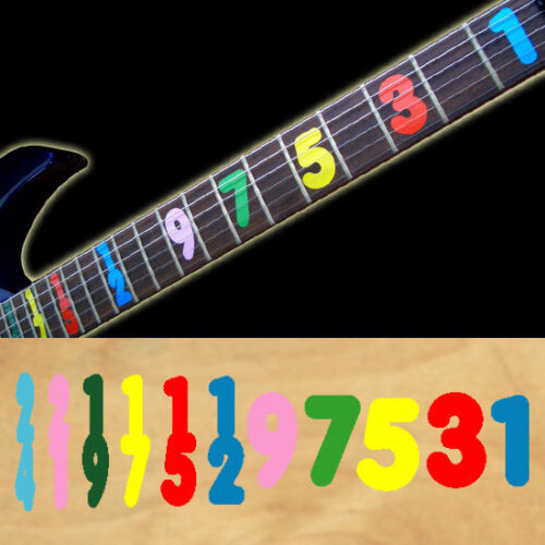 Jason Becker Vibrant Colour Numbers Guitar Fret board Markers Inlay stickers