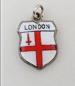 LONDON-Vintage-Silver-Enamel-Travel-Shield-Charm-RARE