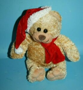 Best-Made-Toys-Christmas-Teddy-Bear-9-034-Red-Hat-Scarf-Plush-Soft-Toy-Stuffed-Cap