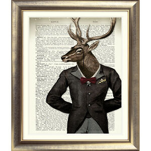 ART-PRINT-ON-DICTIONARY-ANTIQUE-BOOK-PAGE-STAG-Old-ANIMAL-Picture-Vintage-DEER