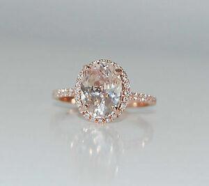 14k-Rose-Gold-Over-3-CT-Oval-Cut-Morganite-Halo-Diamond-Women-039-s-Anniversary-Ring