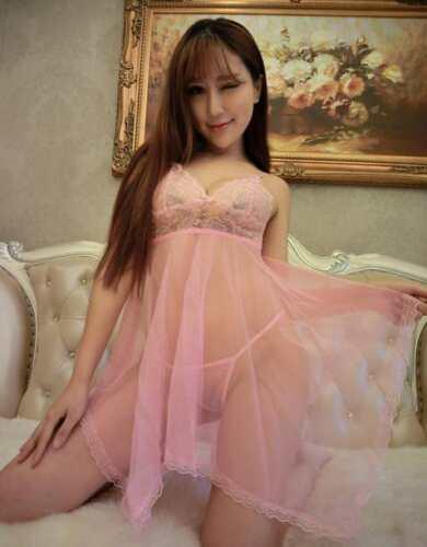 Women Perspective Pajamas Babydoll Nightwear Nightdress Thong G String Lingerie