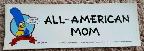 VINTAGE 1990 THE SIMPSONS BUMPER STICKER MARGE ALL-AMERICAN MOM MOTHERS DAY IDEA