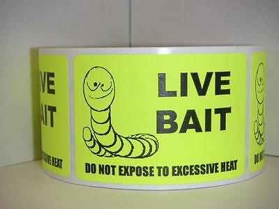 LIVE BAIT DO NOT EXPOSE TO EXCESSIVE HEAT neon yellow Stickers Labels 250//rl