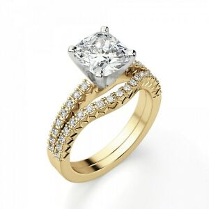 2.50 Ct Cushion Real Moissanite 14K Engagement Band Set Solid Yellow Gold Size 8