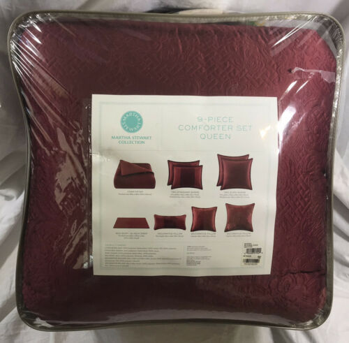 Martha Stewart Collection 9 Pc QUEEN Comforter Set Marble Flowers Burgundy B000