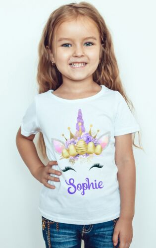 Unicorn Easter Girl Tee Top Personalized Girl Kids T-Shirt Rainbow Unicorn Bunny