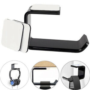 Headphone-Stand-Hanger-Hook-Tape-Under-Desk-Dual-Headset-Mount-Holder-Black