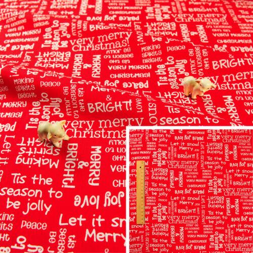 Cuarto gordo Rojo Navidad Navidad//cuadrado//FQ TELA DE ALGODÓN texto escritura saludo Coser