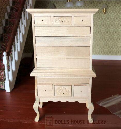 Bare Madera Chippendale highboy casa de muñecas en miniatura muebles del gabinete
