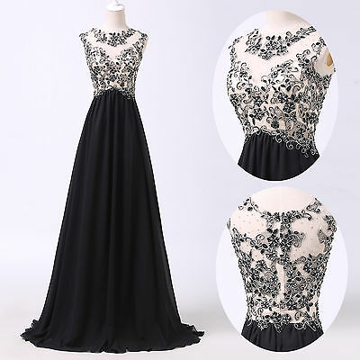 Sexy Long Chiffon Evening Dresses Formal Bridesmaid Cocktail Ball Gown Size 6~20