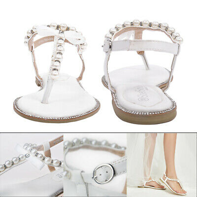 SheSole Flat Sandals Flip Flops Beach Wedding Shoes Pearl Ankle Strap White New! | eBay