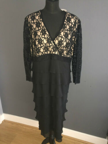 Dress Veromia Cocktail Bodice Sz Rrp Skirt Lace Chiffon Nwt 18 £289 By Black SqwOC1Y