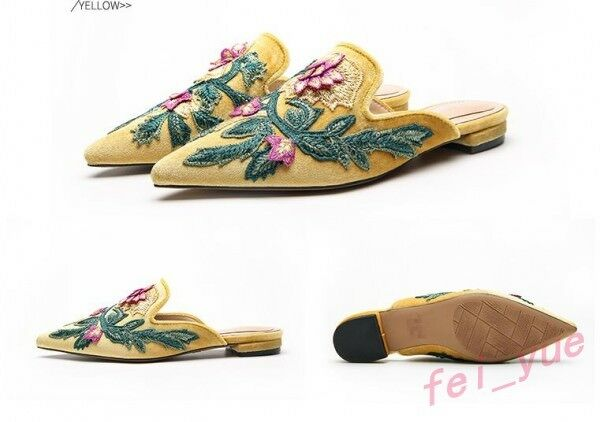 Womens Suede Embroidery Floral Flats Heels Backless Backless Backless Slip on Mules Loafers shoes c03b37