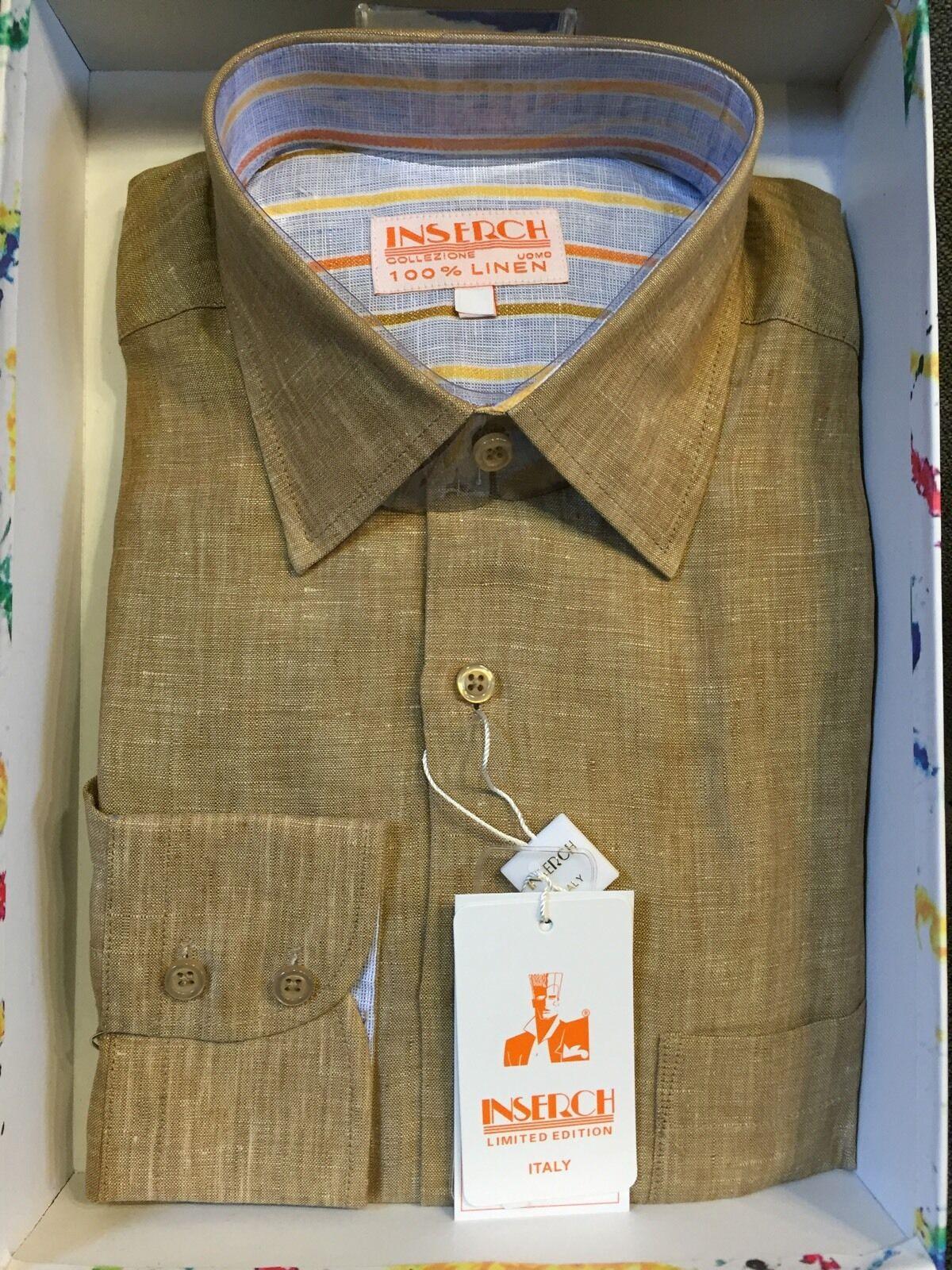 NWT INSERCH Mens Long Sleeve New Khaki color Shirt 100% Linen Size XL