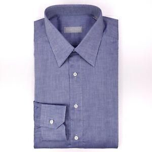 Stefano-Ricci-Blue-Shirt-16-41-L-Large-Mens-Size-Cotton-Italy-Italian-Button-Up