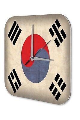 Goed Wanduhr Weltenbummler Korea Süd Flagge Dekouhr Vintage Retro