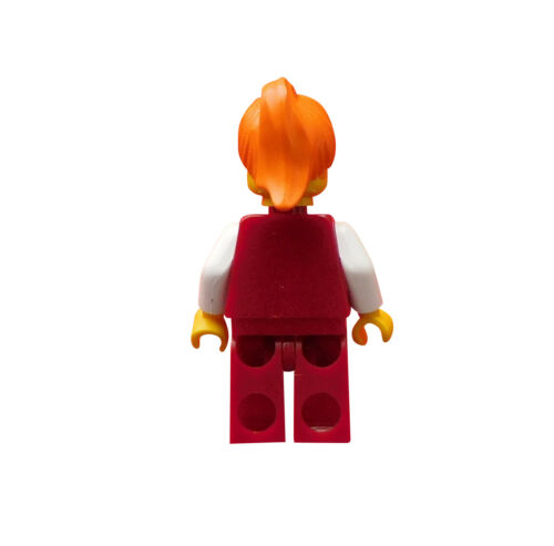 Lego Studios Frau dunkelrote Beine orange Haare und Mütze hrf011 1380