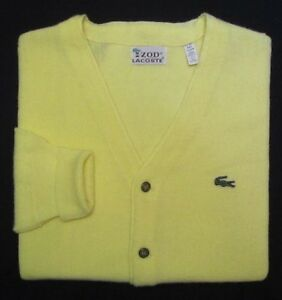 04085e229 Image is loading LACOSTE-Vintage-100-Orlon-Acrylic-Cardigan-Sweater-Men-
