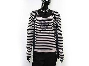 AMBIENTE-Twinset-Shirt-amp-Cardigan-Gr-L-XL-Schwarz-Rosa-gestreift-Mit-Strass-TOP