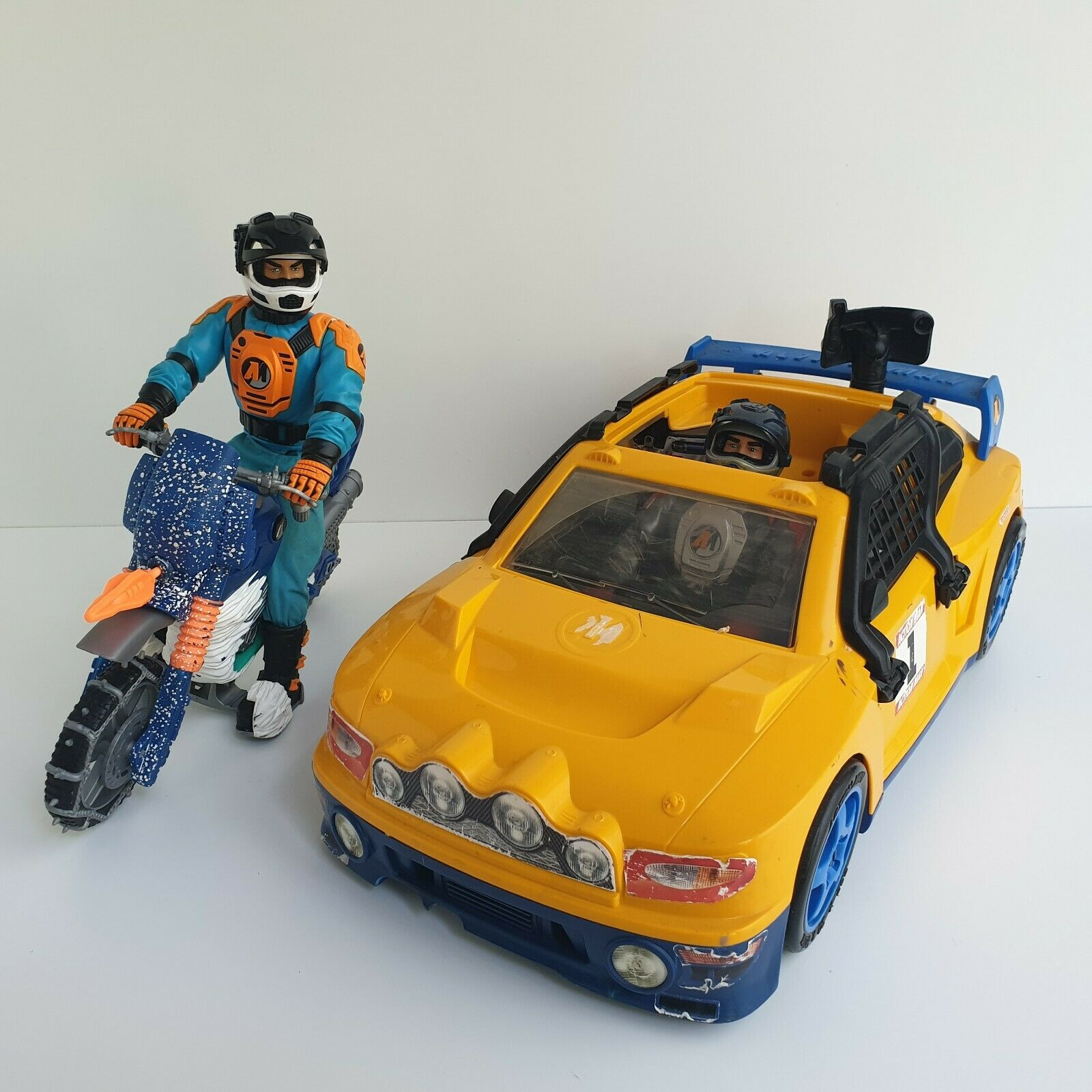 Action Man Vintage Arctic Rally Car Driver Figure Motorcross Bike Lot Speedway