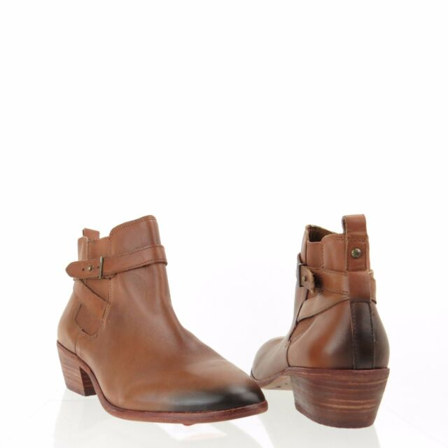 4aefe04179c9 Women s Sam Edelman Pacific Shoes Brown Leather Ankle Booties Size 8.5 W ...