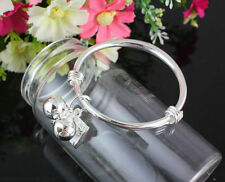 BABY/REBORN BABY DOLL/OOAK BRACELET/BANGLE PLAIN SILVER PLATED WITH BELLS