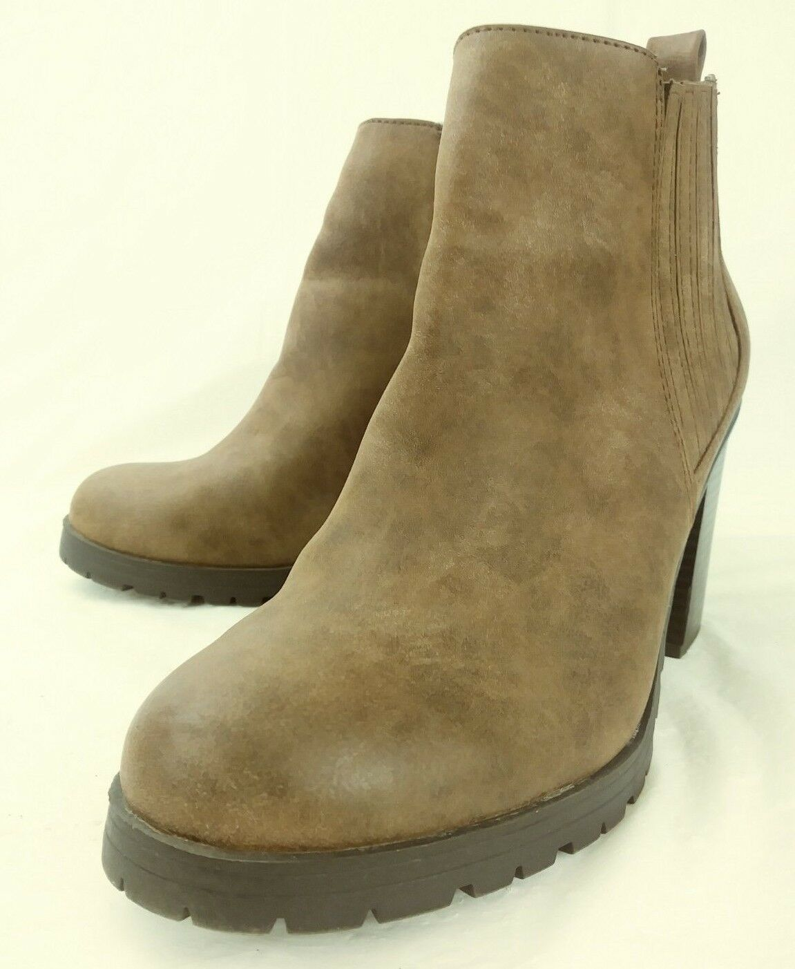 Sam & Libby Wos Boots Ankle Chelsea US 9 Brown Leather Pull On Heels 3202