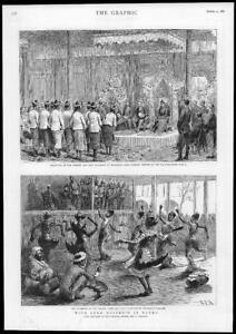 1886-Antique-Print-MYANMAR-Burma-Lord-Dufferin-Reception-Theatre-Mummers-216