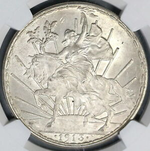1913-NGC-MS-63-Mexico-Peso-Mint-State-Caballito-Horse-Silver-Coin-18120601C