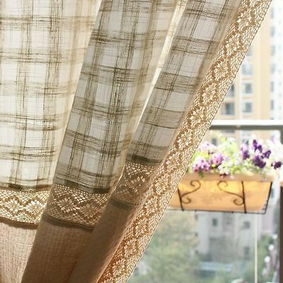 1 PC French Country Window Curtain Drapes Cotton Linen Lace Curtain Panel Drap